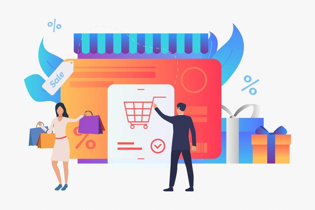 E-commerce, illustration, online shopping